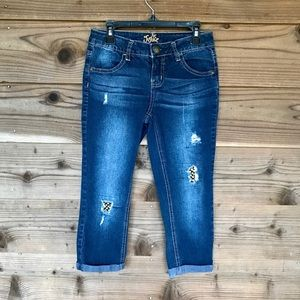 Justice Jeweled destructed rolled hem Jegging 10